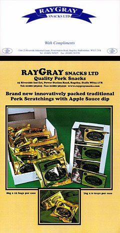 Ray Gray Scratchings Review2 - Ray Gray, Apple Sauce Dip, pot Pork Crackling Review