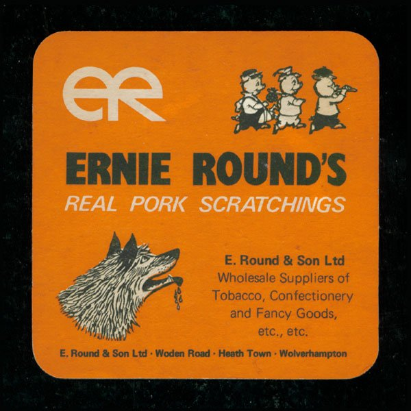 Vintage Ernie Rounds real pork scratchings beer mat - Vintage Ernie Rounds real pork scratchings beer mat