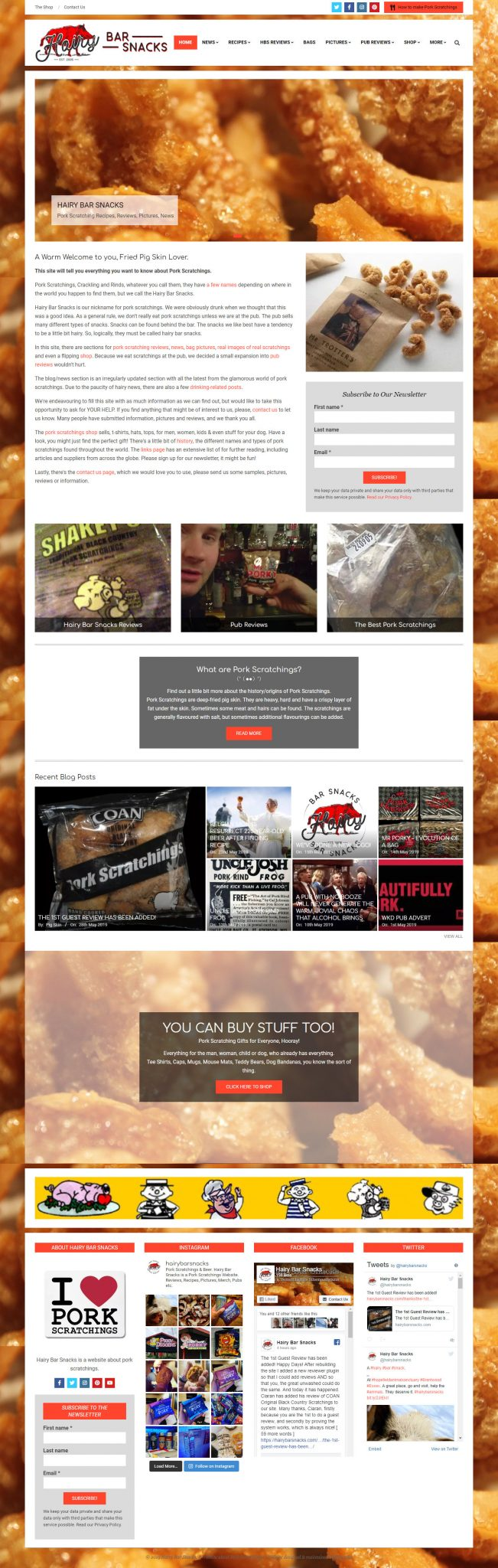 new hairy bar snacks website design - Website Redesign and Tidy Up