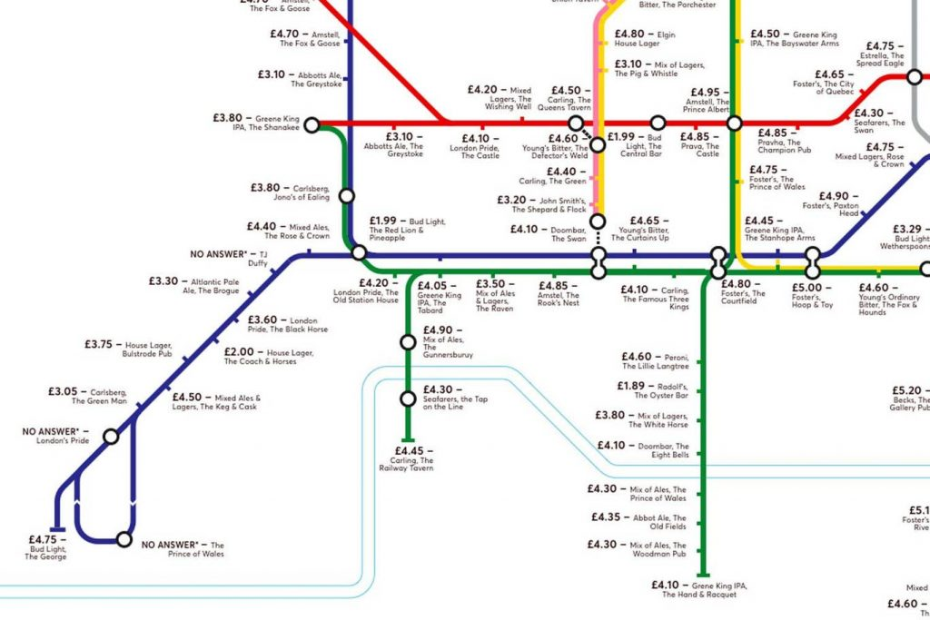 pubmap6 1024x683 - Redesigned Tube map shows cheapest pints of beer close to London stations